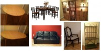Many furniture items – FREE DELIVERY on Jan 5th dining set for 6, book shelving unit, antique captain chairs, blinds