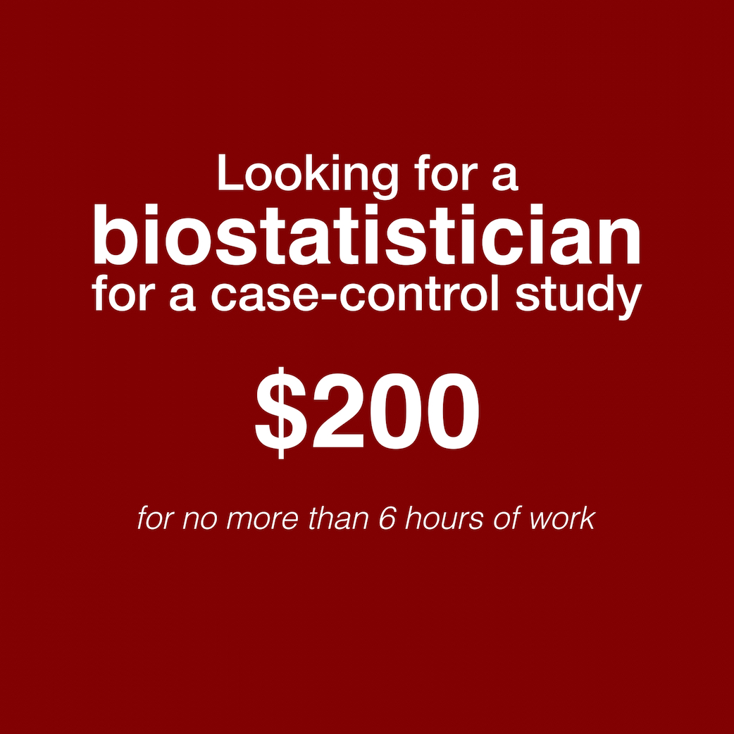 Looking for a biostatistics student to perform quick stats on a case-control study