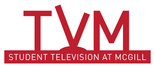 "TV McGill Logo - TVM in large red writing, with the T looking like an atenna, on top of a bold red line with white text in the red line ""STUDENT TELEVISION AT MCGILL"""