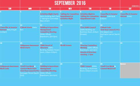SSMU Calendar