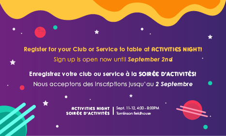 Activities Night - Register for a Table!